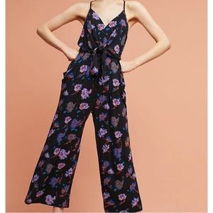 NWOT Anthropologie Black Floral Jumpsuit size S